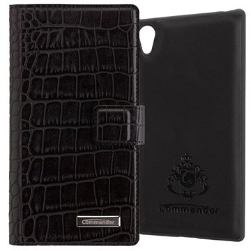 Sony Xperia Z5, Xperia Z5 Dual Commander Book %26 Cover Tasche - Croco Schwarz