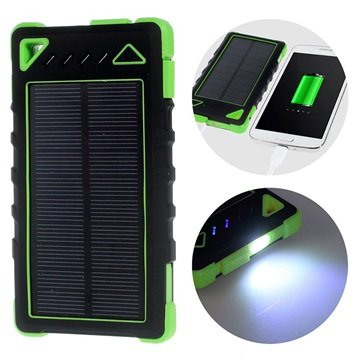 MTP Products Dual USB Wasserdichte Solar Ladegerät / Power Bank - Grün