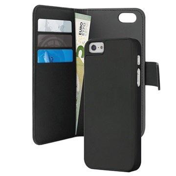 iPhone 5 / 5S / SE Puro Magnetisches Geldbörse Tasche - Schwarz