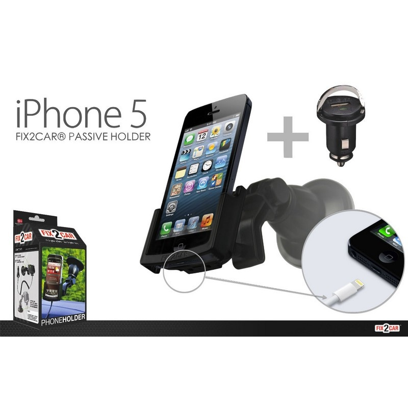 iphone 5 5s passiv ger tehalter mit kfz ladeger t fix2car. Black Bedroom Furniture Sets. Home Design Ideas
